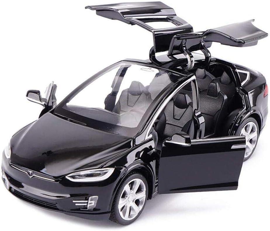 MuZhuo 1:32 Tesla Model X90 Diecast Car Model wSound & Light Pull Back Alloy Model Toy Car 4 Open Door Kids Toy Gift