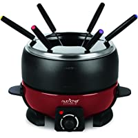 Electric Countertop Chocolate Fondue Maker - 800W 2QT Black/Red Fondue Pot Set, Cheese Melter Warmer Cooker Pot, Nonstick Melting Pot, Includes 6 Dipping Forks, Utensil Tray Lid - NutriChef