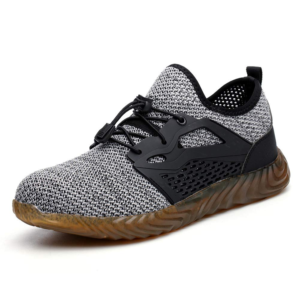 BBT-Shop Men's Sneakers, Leisure Breathable Running Shoes Outdoor Sports Walking Hiking Shoes Steel Toe Safety Work Shoes Non Slip Wear-Resistant Comfortable Absorption Autumn Athletic Shoes by BBTshop (Image #3)