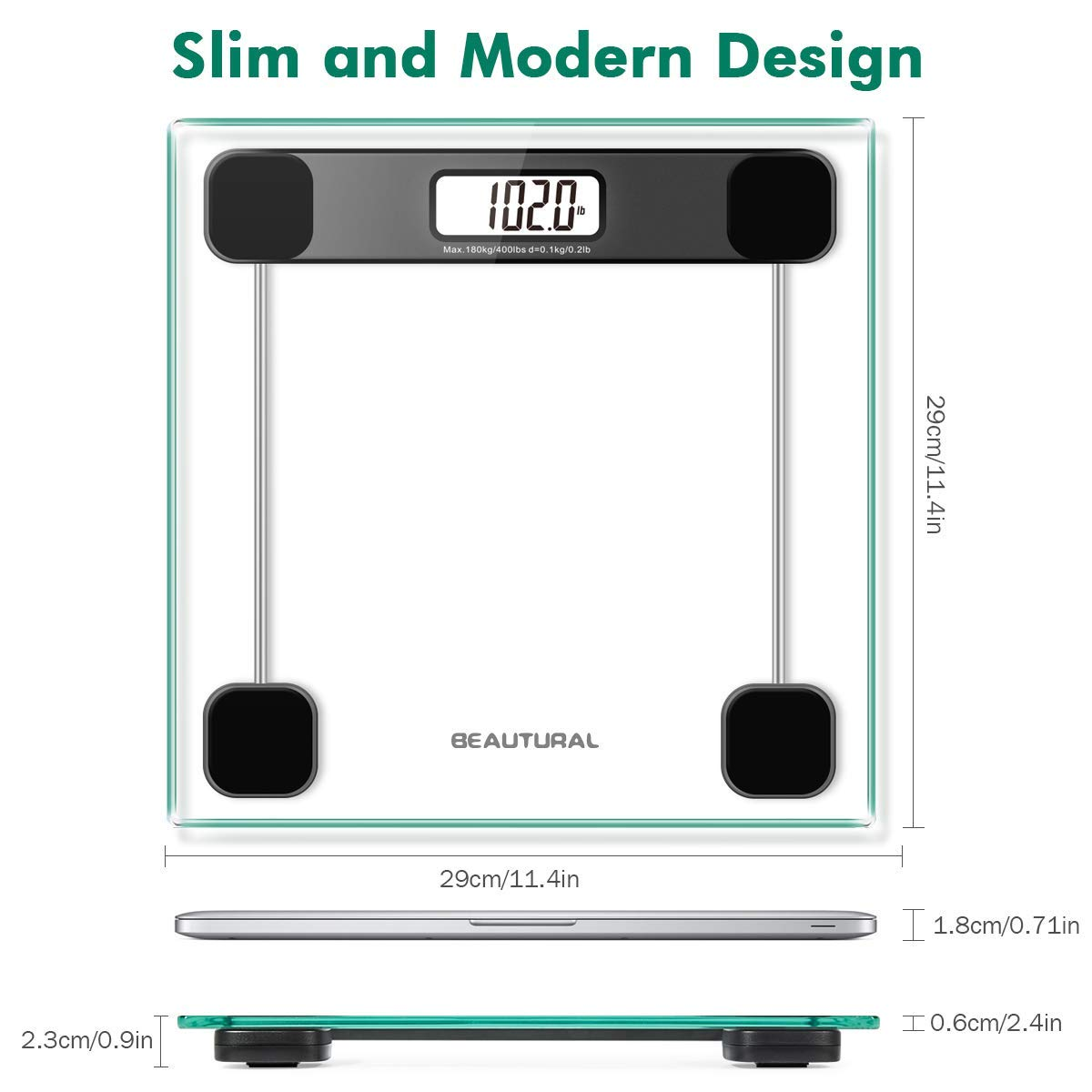 Beautural Precision Digital Body Weight Bathroom Scale with Lighted Display, Step-On Technology, 400 lb by Beautural (Image #8)