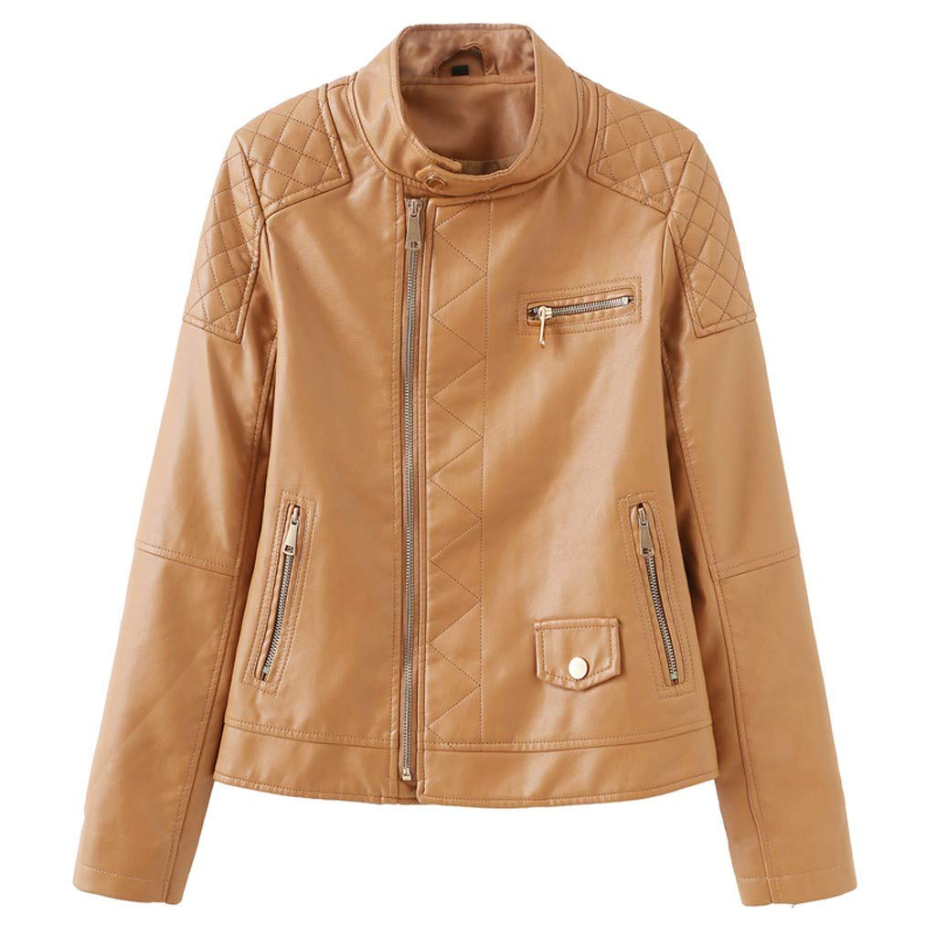 GHrcvdhw Winter Warm Handsome Women Coat Leather Long Sleeve Solid Jacket Parka Zipper Overcoat Outwear Tops Brown by GHrcvdhw
