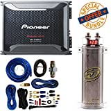 Pioneer 4 Gauge 1600W Monoblock Class-D Car Amplifier + SQCAP2M Power Capacitor 4 Gauge Amp Kit