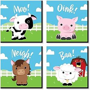Big Dot of Happiness Farm Animals - Barnyard Kids Room, Nursery Decor and Home Decor - 11 x 11 inches Nursery Wall Art - Set of 4 Prints for Baby's Room