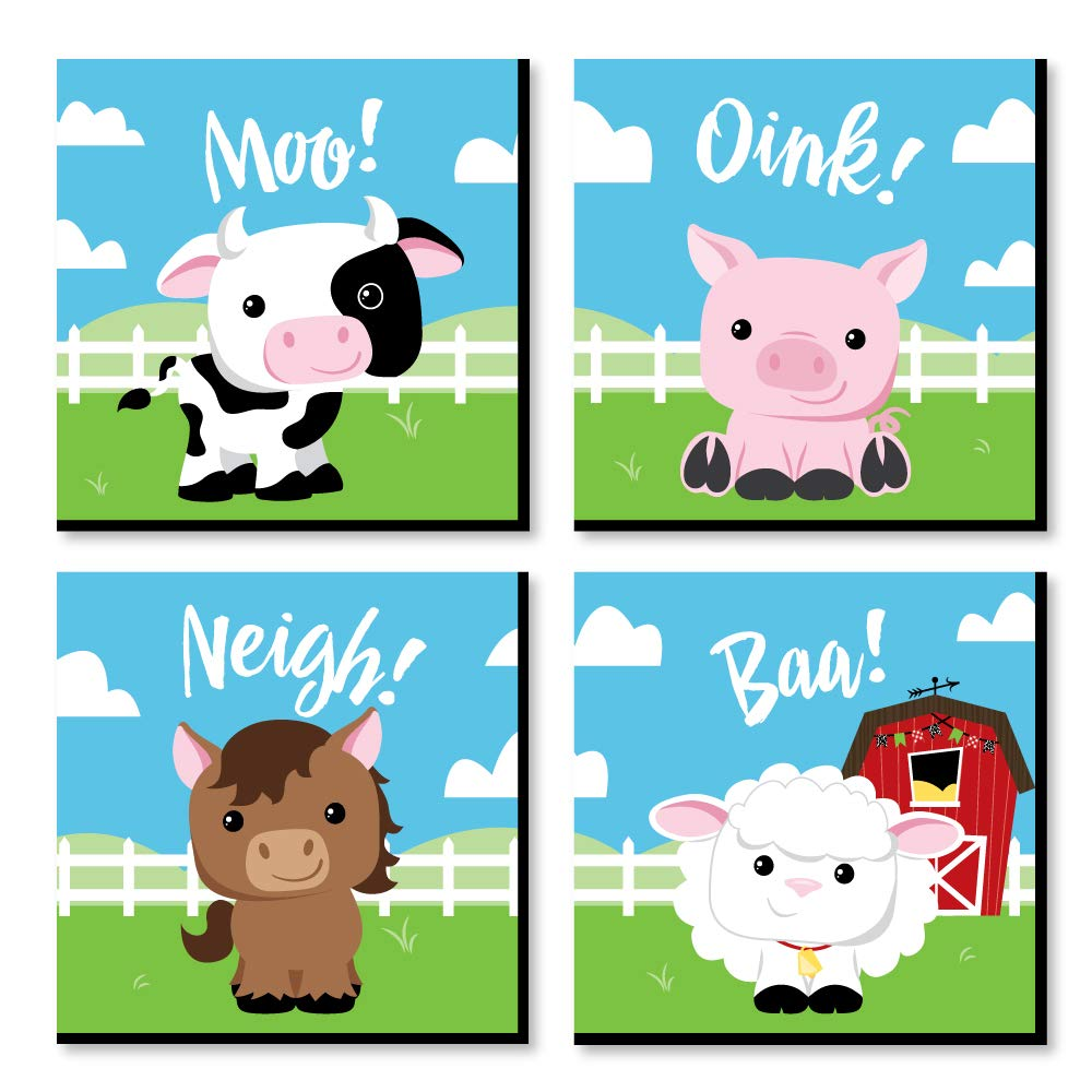 Big Dot of Happiness Farm Animals - Barnyard Kids Room, Nursery Decor and Home Decor - 11 x 11 inches Nursery Wall Art - Set of 4 Prints for Baby's Room by Big Dot of Happiness