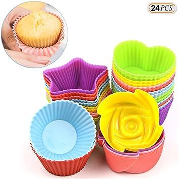 hisight Muffin Moldes reutilizable antiadherente de silicona moldes para cupcakes 24 pcs calor resisant hornear tazas