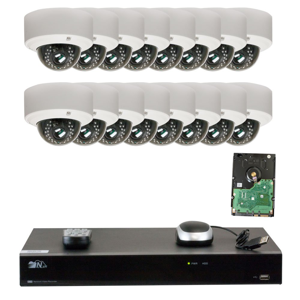 GW Security 16CH H.265 4K NVR 5-Megapixel 2592 x 1920 4X Optical Zoom Network Plug Play Video Security System, 16pcs 5MP 1920p 2.8-12mm Motorized Zoom POE Weatherproof Dome IP Cameras