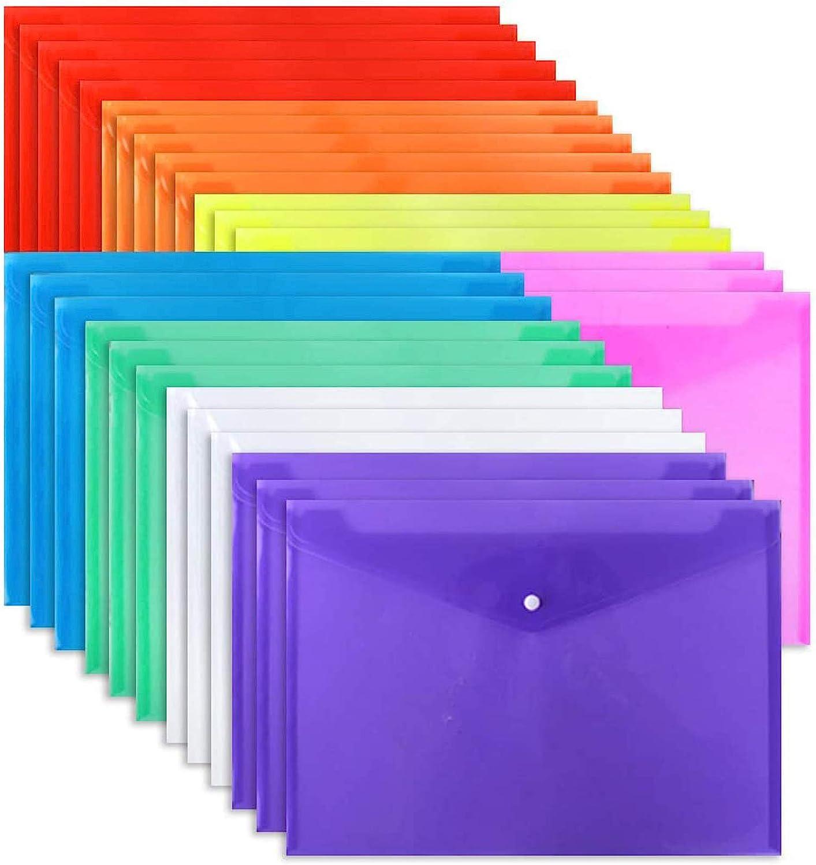 EOOUT 28pcs Poly Envelope Folder 8 Color Clear Plastic Envelope with Snap Button Closure A4 Size/Letter Size, for School Office