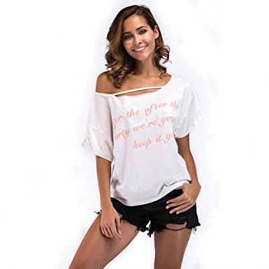 e33f3f320fd Image Unavailable. Image not available for. Color  JESRKAS Print T Shirt  Women Summer Sexy ...