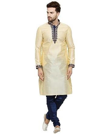 c0d5b3be63 Amazon.com: Larwa Men's Silk embroideded Kurta Pyjama Set Special ...