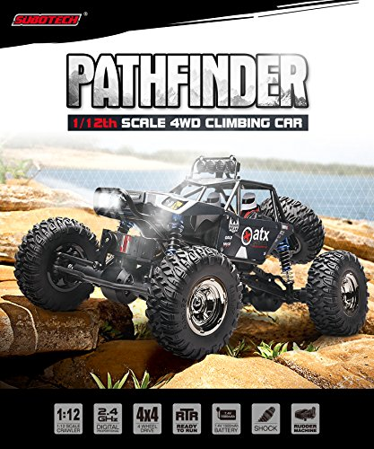 Demaxis 4x4 Offroad Remote Control Car Vehicles, RTR 4wd Rc Cars Rock Crawler Monster Truck 1/12 Scale Outdoor (Black)