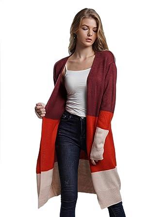 f2bdc01dcd53 BiuKen Women Casual Open Neck Long Sleeve Patchwork Loose Cardigan Long  Sweater Cardigans Orange at Amazon Women s Clothing store