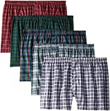 Fruit of the Loom Men's Woven XXL Compatible with Tartan and Plaid Boxer 5-Pack