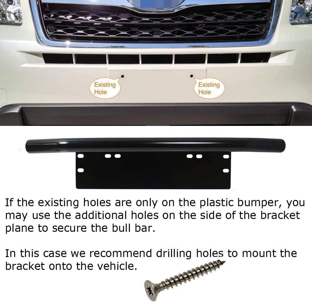 LED Lighting Bar LED Work Lamps iJDMTOY Universal Fit Bull Bar Style Black Painted Stainless Steel Front Bumper License Plate Mount Bracket Holder Compatible With Off-Road Lights