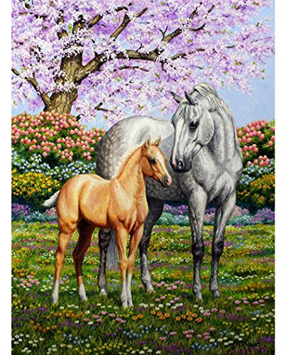 Diamond Horse (5D DIY Diamond Painting by Number Kits,WisLotife Diamond Painting Rhinestone Crystal Embroidery Pictures Cross Stitch for Home Wall Decoration Horse Mother Love 11.8×15.0 inch (Horse Mother Love))