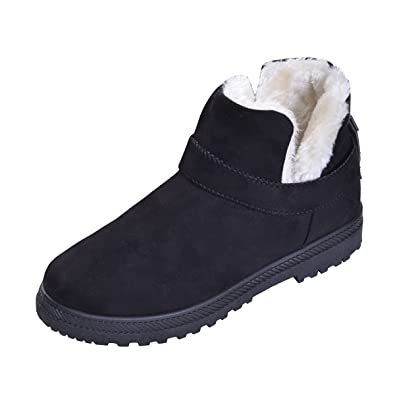 YELLOW AND TREE Women's Fur Winter Snow Boots Cute Lace up Flat Platform Ankle Booties Sneakers Boots Black Fur Size 6