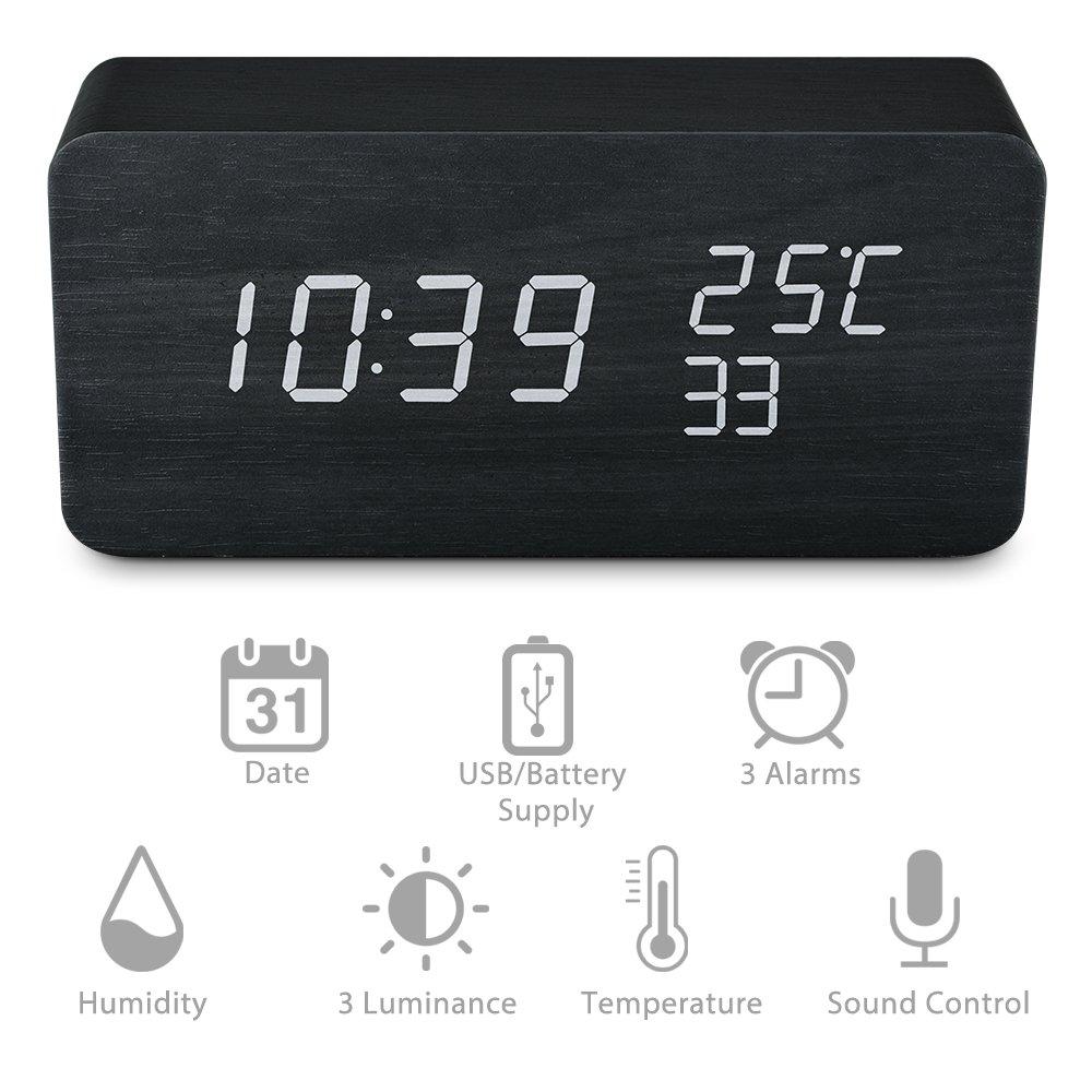 Qoosea Reloj Despertador LED Reloj de Alarma de Madera Comando de Voz táctil Relojes Digitales USB Reloj de Madera Moderno 3 Niveles Brillo Ajustable 3 ...