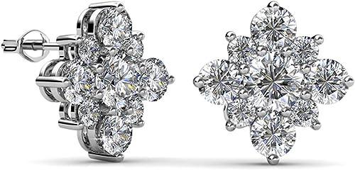 925 Sterling Silver Austrian Crystal Flower Shape Stud Earrings For Charm Women