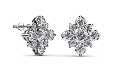 14658ab67 Jade Marie Amazon 2018 Charming Diamond Flower Shaped Stud Earrings, 18k  White Gold Plated Earrings