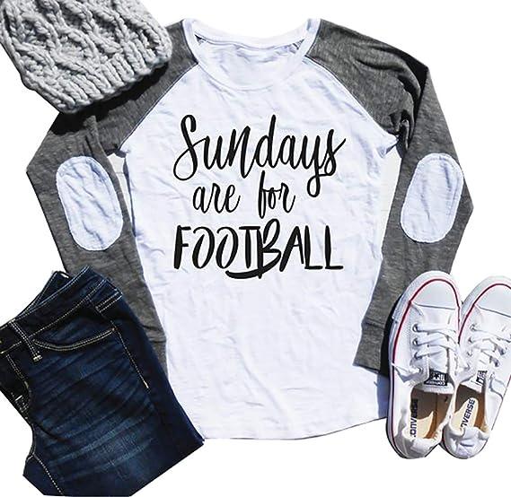 cec83de23b Sundays are for Football Super Bowl 2019 T Shirt Women Elbow Patch Raglan Long  Sleeve Baseball Tee Casual Tops ... at Amazon Women's Clothing store: