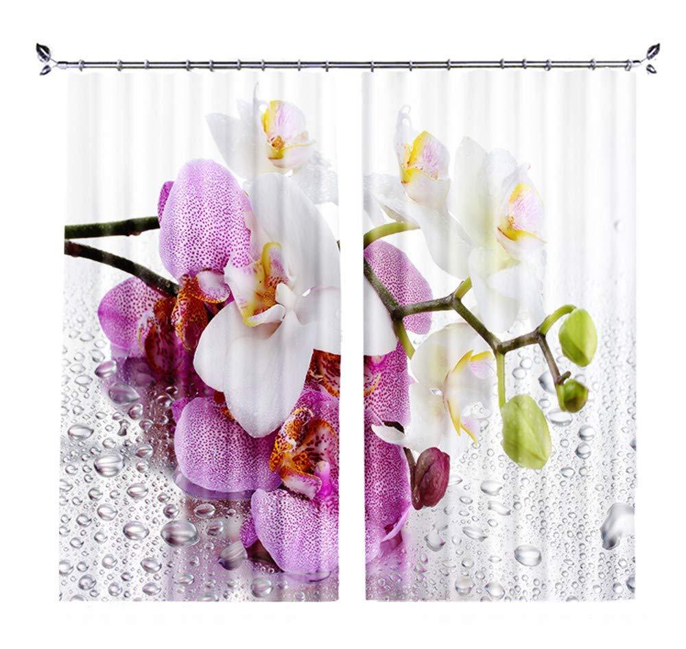 カスタムパーソナリティ3D風景風景寝室リビングルーム窓枠短いカーテンカーテン ピンクと白の花2X幅137 X高さ117cm   B07QX71LW3