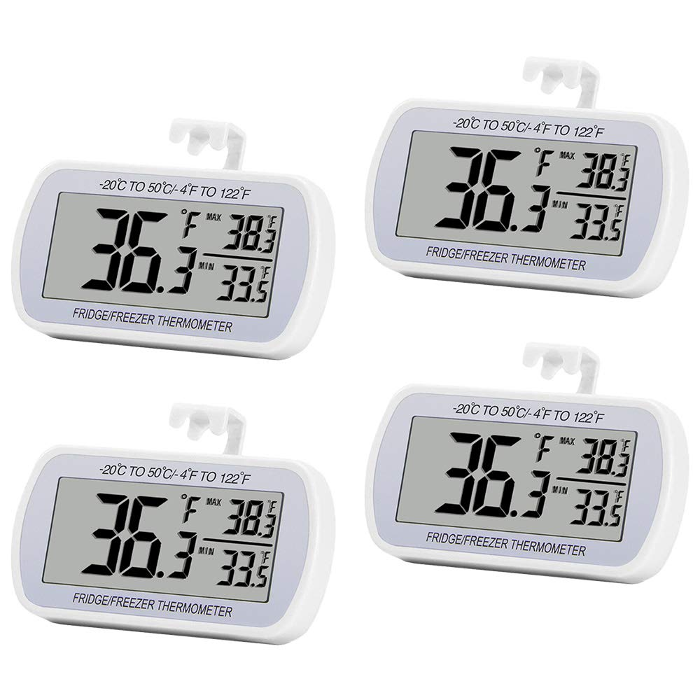 4 Pack Digital Refrigerator Thermometer Fridge Freeze Room Thermometer Waterproof Large LCD Display Max/Min Record Function, White