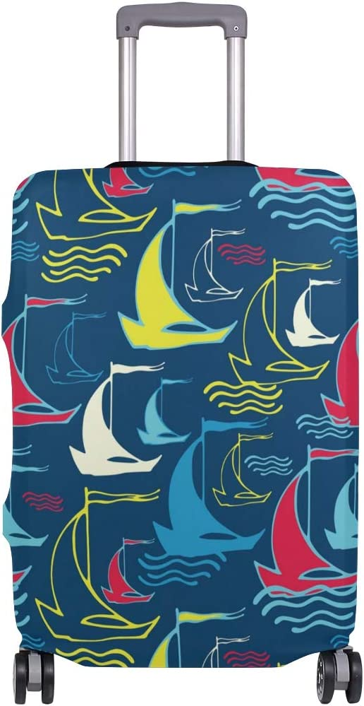 FOLPPLY Colorful Ocean Sea Sailboat Pattern Luggage Cover Baggage Suitcase Travel Protector Fit for 18-32 Inch