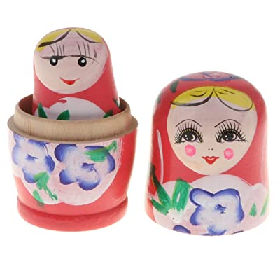 B Blesiya Muñecas Rusas Matrioska de 5 Capas Pintado a Mano Anidación Regalo de Cumpleaños Navidad para Niños - Rosado: Juguetes y juegos