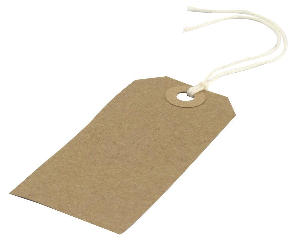 Strung 134x67mm Tag//Tie On Luggage Craft Labels 50 Large Brown//Buff Manilla
