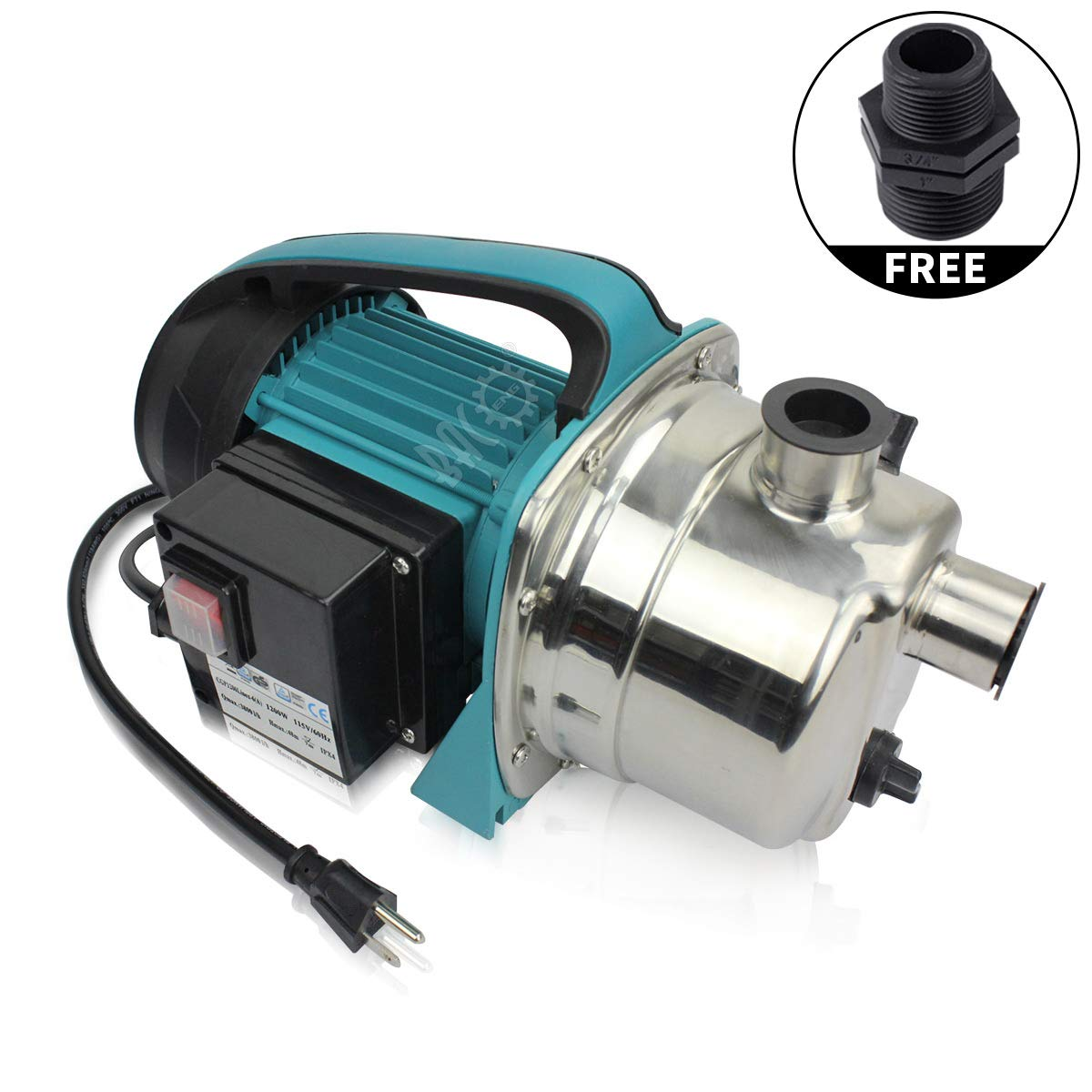 BACOENG 1.6HP Stainless Booster Pump Shallow Well Pump for Home Garden Irrigation by BACOENG
