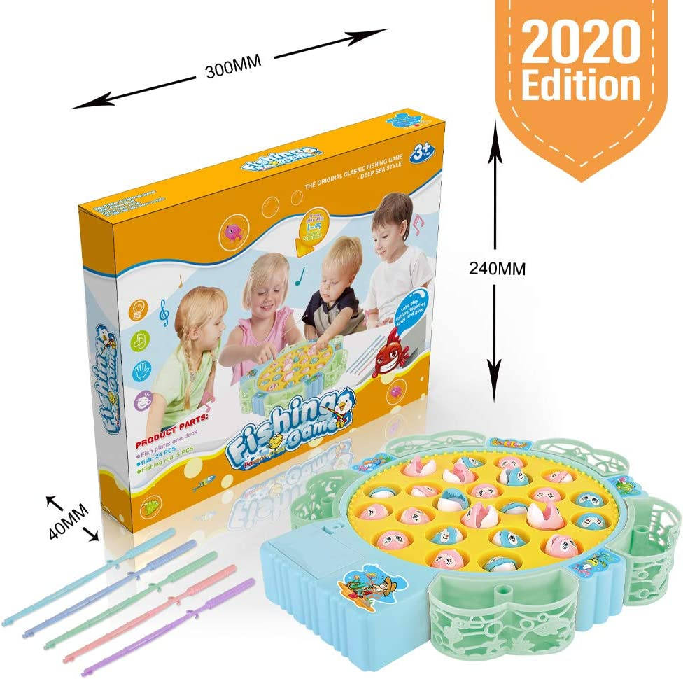 Super Toddler Game for Girls Boys Age 3 4 5 6 7+, Fishing Game Toy Contain 24 Shark, 5 Fishing Poles, 5 Fish Basket, It Can Turn and Music, Board Games, Educational Fish Game Toy for Kids(Bule, 24)