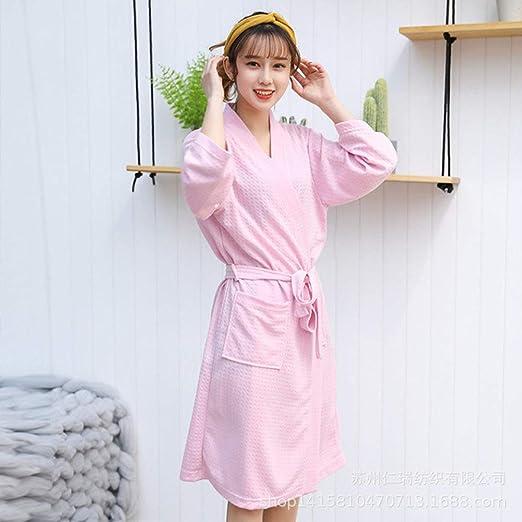 MNHJG Albornoz,Mujer Invierno Otoño Albornoz Ropa de Dormir Kimono Túnica Casual Cinturón de algodón Elegante baño SPA Túnica, Color Rosa, XL: Amazon.es: Hogar
