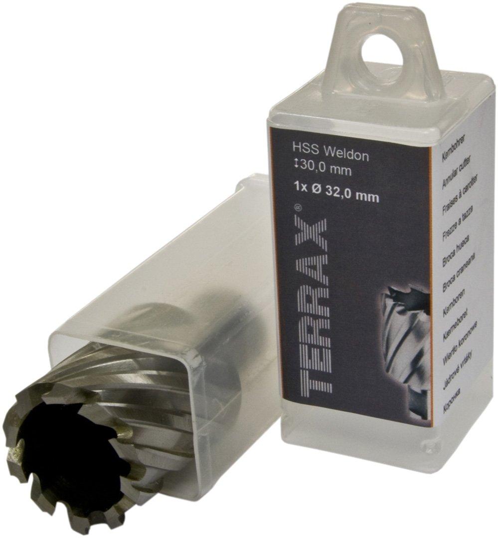 Terrax 108232TX Broca hueca HSS largo 77 mm 32 mm profundidad de corte 30 mm v/ástago Weldon di/ámetro 6,35 mm