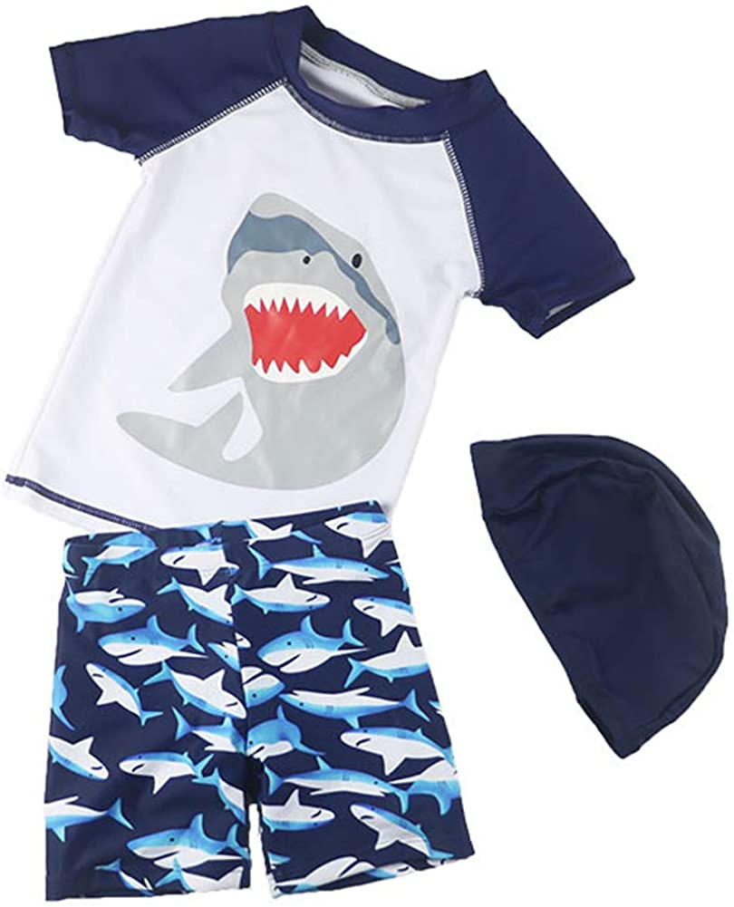 Baby Boys Two Piece Swimsuits Rash Guard Short Sleeve Shark Bathing Suit Swimwear Sets with Hat UPF 50+ for Kids