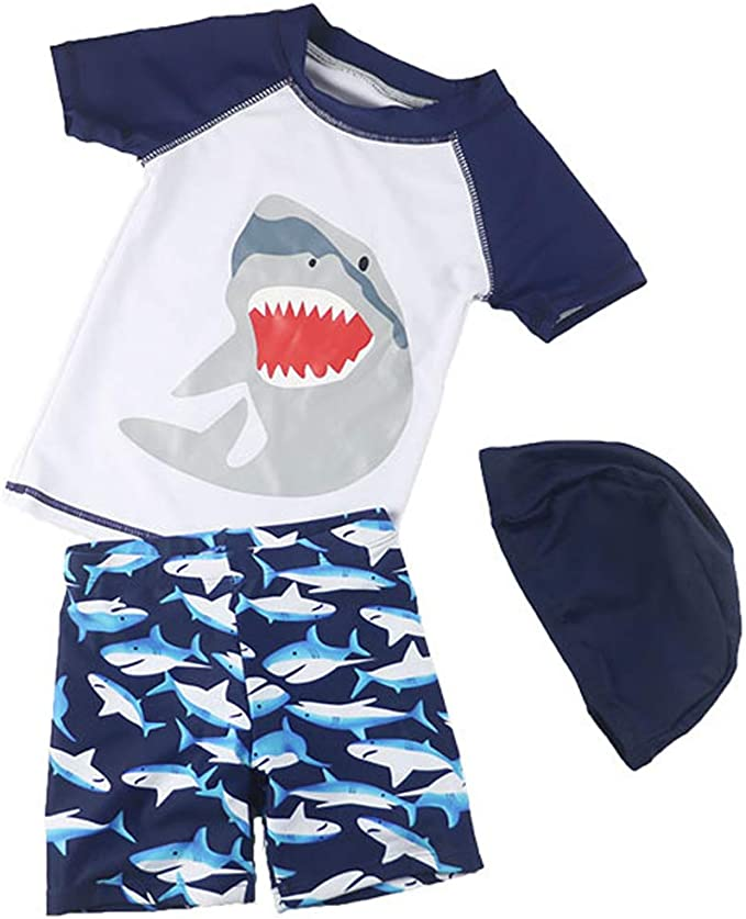 Baby//Toddler Boy Shark Short Sleeve Swimsuit Kids Rash Guard Bathing Suit Little Boys Round Neck Swimwear Set