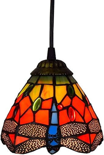 Creative Tiffany Style Small Pnedent lamp Dragonfly Red Glass Pendant Light Ceiling Hanging Lamp Fixture Shade for Dining Room Kitchen Island Bedroom
