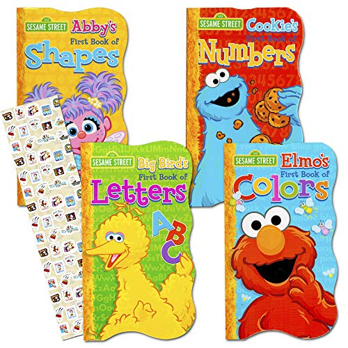 Elmos 123s - Sesame Street First Board Books - Set of Four (ABCs, 123s, Colors, Shapes)