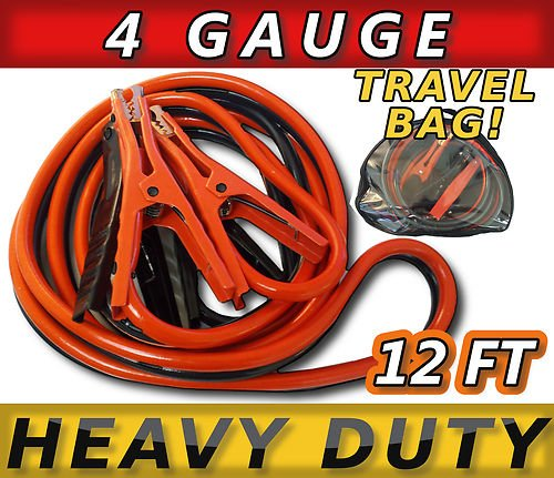 SUPER DUTY 500 amp 4 gauge No Tangle Battery Booster cables 12 feet with FREE travel case Jumper Cables Extra long 12ft
