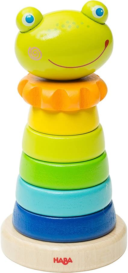 HABA Frido Frog Stacker 8 Piece First Wooden Pegging Game for Ages 18 Months and Up 303797
