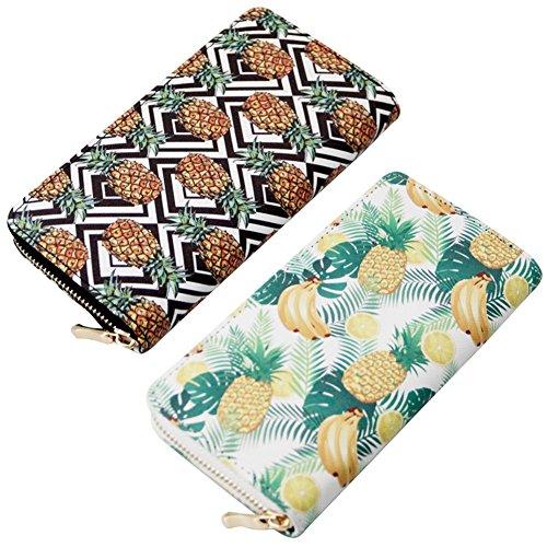 Purse Credit 6 Zipper Pattern Print Designer Clutch Wallet Pineapple Badiya Holder Card xnq7aY0ZPw