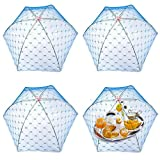 Zantado (4 Pack) Pop –Up Mesh Screen Food Cover Tent Umbrella, Reusable and Collasible Outdoor Picnic Food Net Tents, Screen Tents Protectors For Bugs, Fruit From Flies, BBQ.