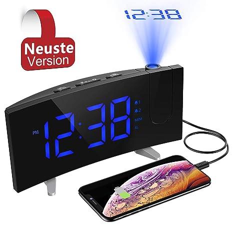 PICTEK Reloj despertador de proyección, reloj digital, proyector para niños con radio FM,