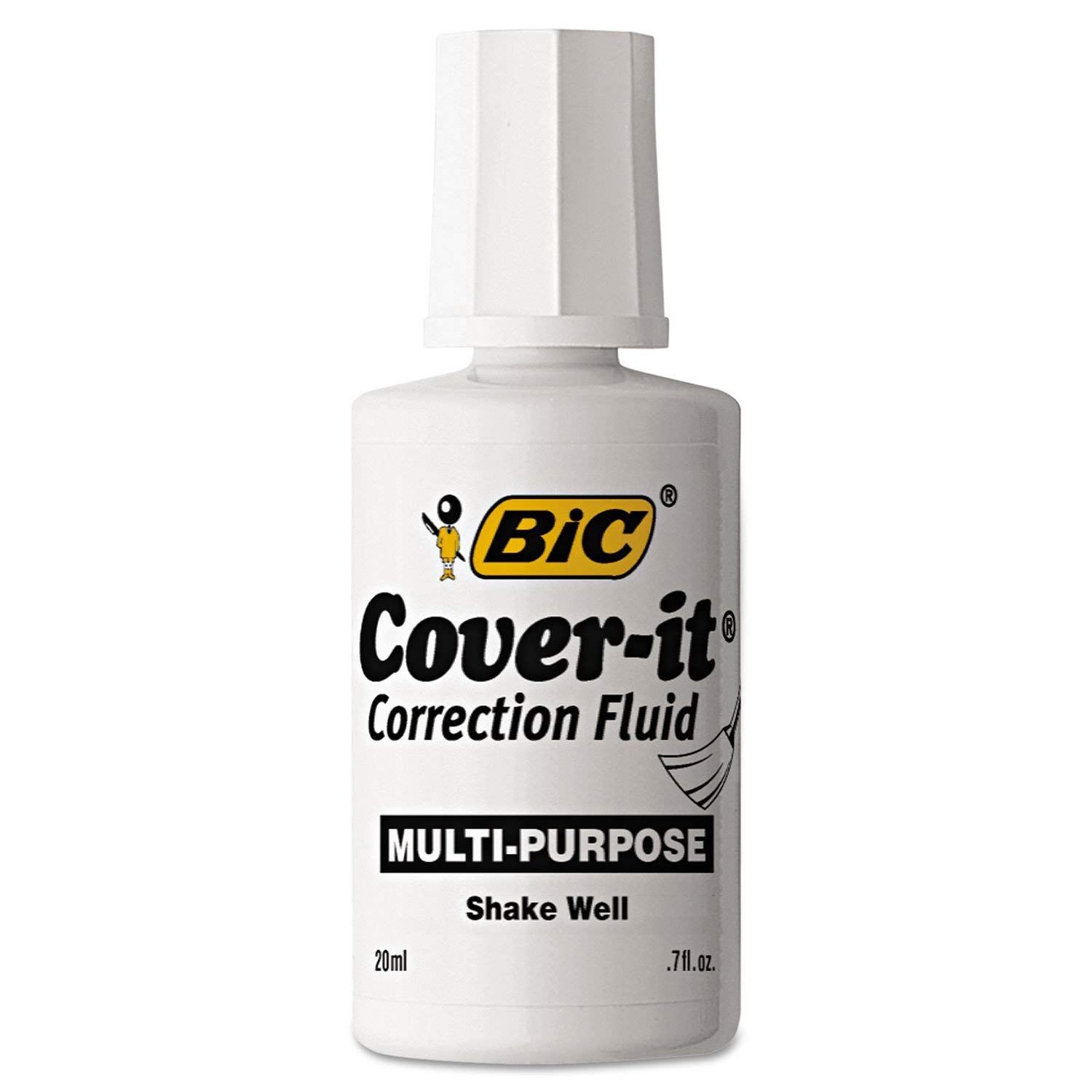 BIC Cover-It Correction Fluid, 20 Milliliter Bottle, White, 1/Each (WOC12-WE), 72 pack by BIC