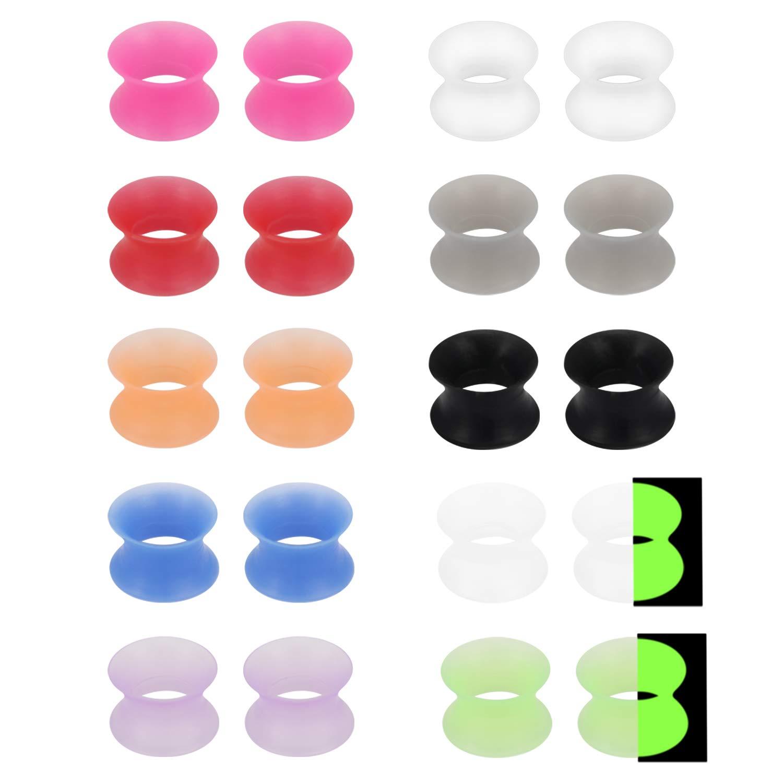 Yaalozei 12 Pairs Glow in Dark Ultra Thin Silicone Ear Skin Flexible Flesh Tunnel Expander Stretching Gauge Earlets Plug Set Mix Color Gauges Kit 6G 4G 2G 0G 00G