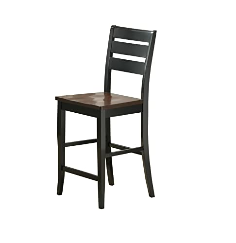 Bernards Ridgewood Barstool, Black with Mahogany Finish, Set of 2