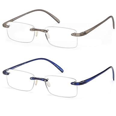 5b1fe98c41e Amazon.com  GAMMA RAY 2 Pairs Lightweight Rimless Flex Readers Reading  Glasses - 4.00x  Clothing