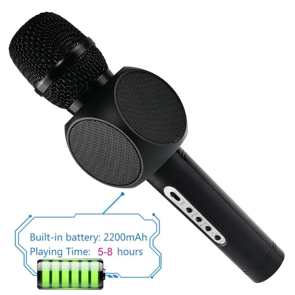 Wireless Microphone Condenser Karaoke Mic KTV Music Bluetooth Speaker Compatible with Android and iOS for Singging, Karaoke, Recording ( Color : Black ) by Rsiosle (Image #4)