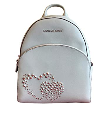 55fdaedc68a9 Amazon.com: Michael Kors Abbey Studded Double Hearts Medium Leather Backpack  in Ash Grey: Shoes