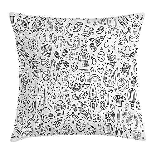 YVSXO Boy's Throw Pillow Cushion Cover, Astro Sketch Abstract Planets in Doodle Drawing Style Children's Cartoon Composition, Decorative Square Accent Pillow Case, 18 X 18 inches, Black White