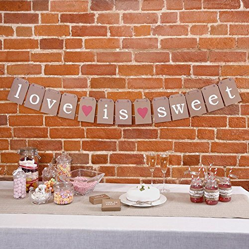 Pixnor Love is Sweet Bunting Garland Banner Vintage Love Wedding Bridal Party Supply Western Decoration Handmade Photo Props