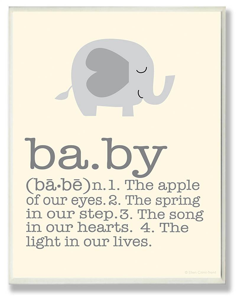 The Kids Room by Stupell Definition of Baby with Grey Elephant Rectangle Wall Plaque, 11 x 0.5 x 15, Proudly Made in USA by The Kids Room by Stupell